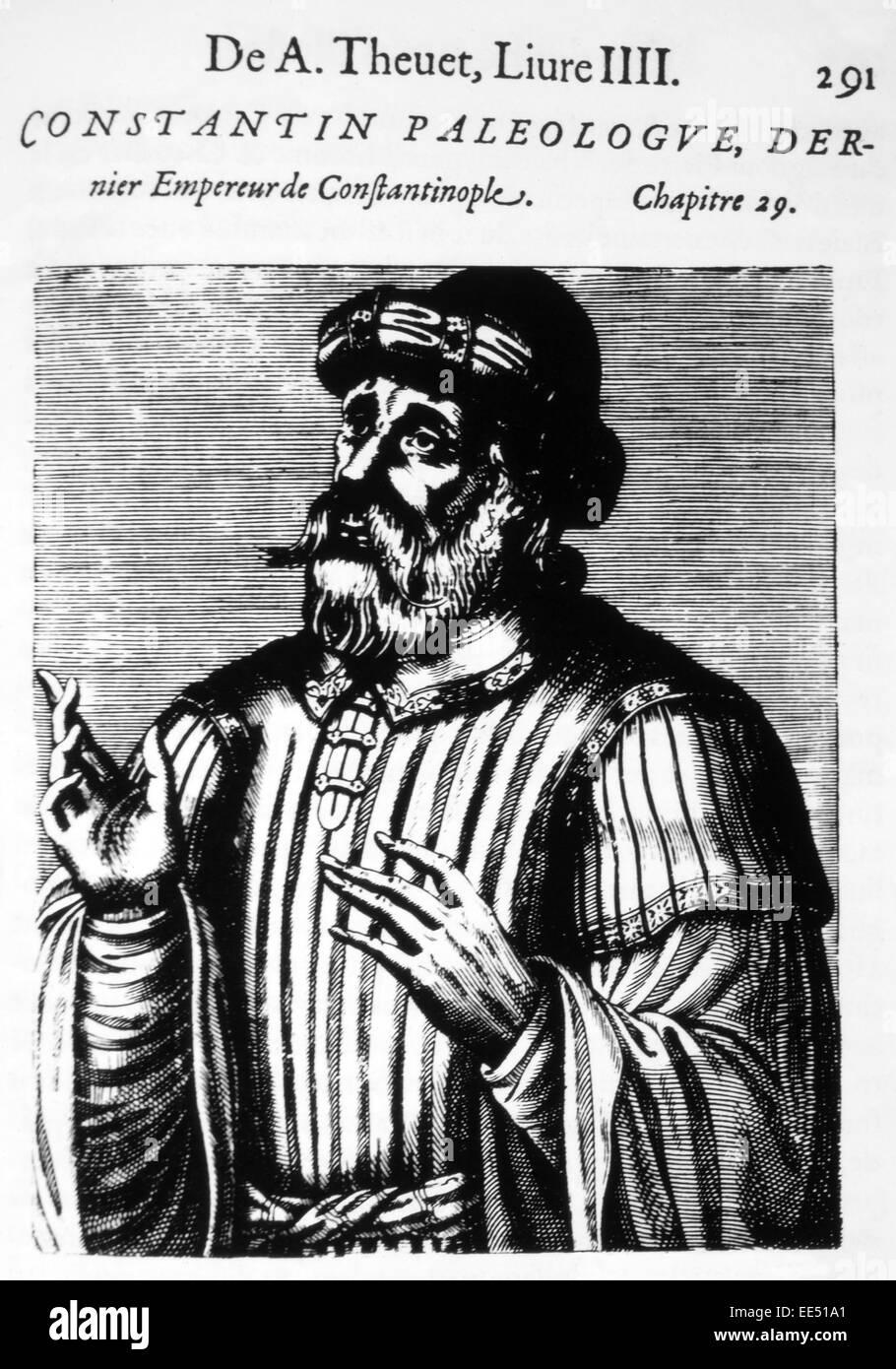 Constantine XI (1404-53), Last Byzantine Emperor, Woodcut from 'Les Vrais Pourtraits et vies des Hommes Illustres' - Stock Image