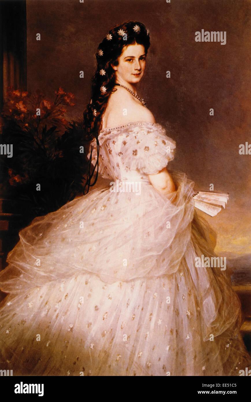 Kaiserin Elisabeth (Empress Elisabeth of Austria), Painting by Franz Xavier Winterhalter, 1865 - Stock Image