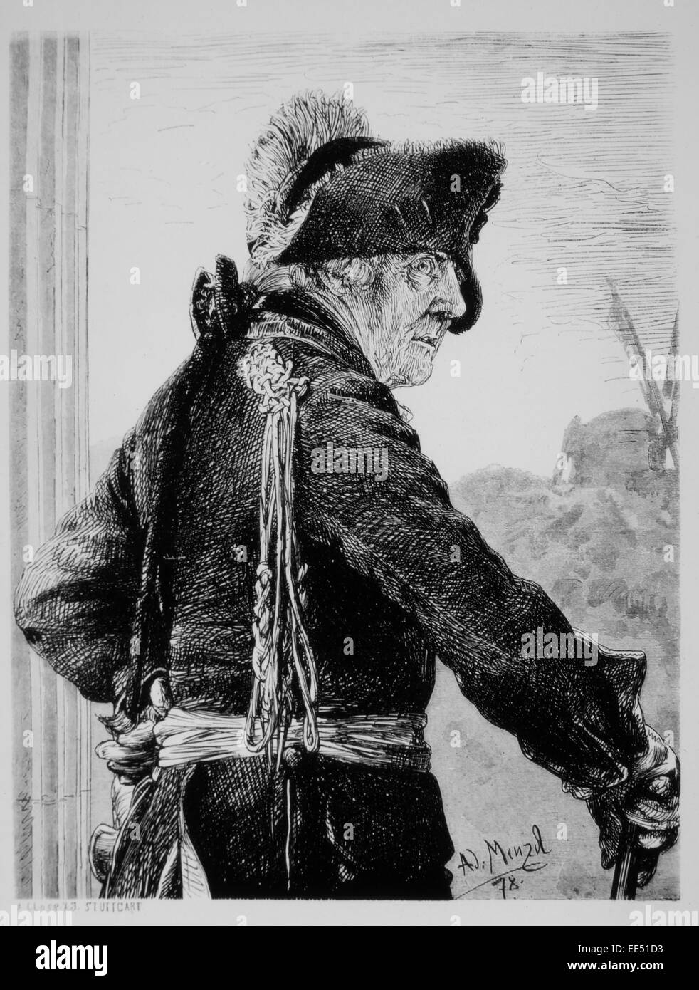 Frederick II, Frederick the Great (1712-86), King of Prussia (1740-86), Portrait, Engraving by A.J. Menzel, 1878 - Stock Image