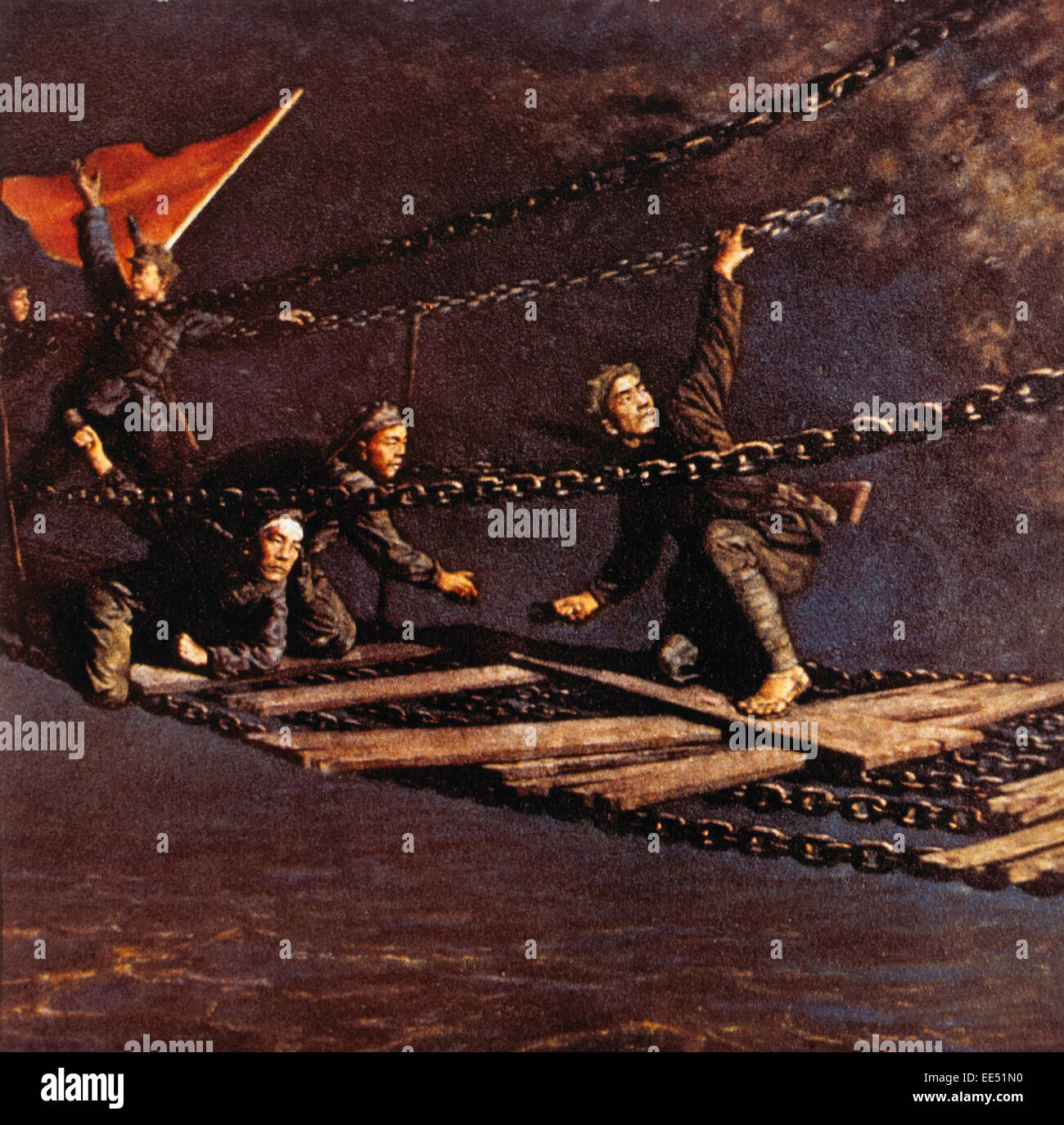 Red Army Soldiers Crossing Luding Footbridge Over Dadu River during the Long March, Sichuan Province, China, circa - Stock Image