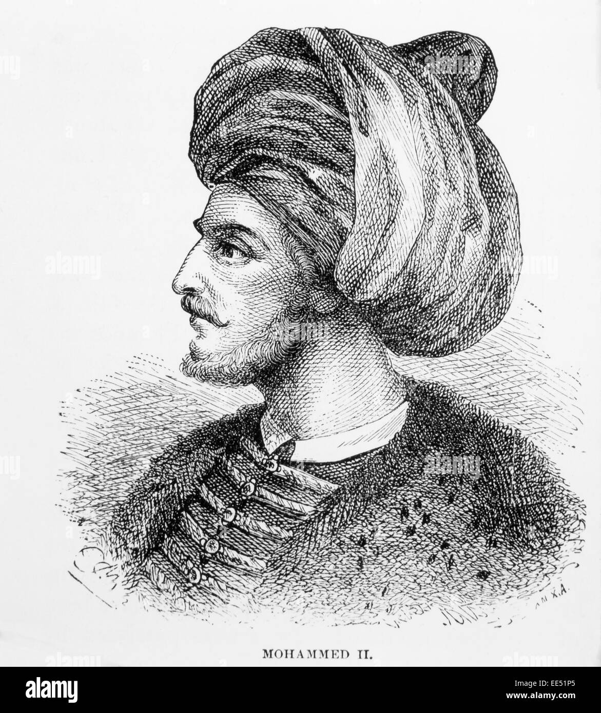 Mehmed II (1432-81), Ottoman Sultan, Considered the True Founder of the Ottoman Empire, Engraving 1885 - Stock Image