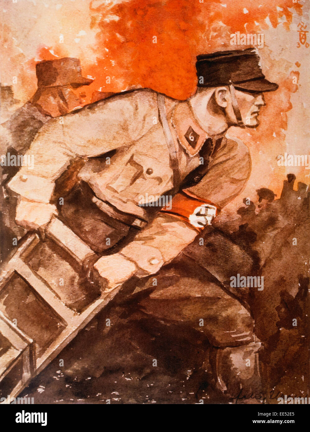 Nazi Party Election Poster, 'One Can Only Combat Terror from the Left with Sharper Terror', Germany, 1920's - Stock Image