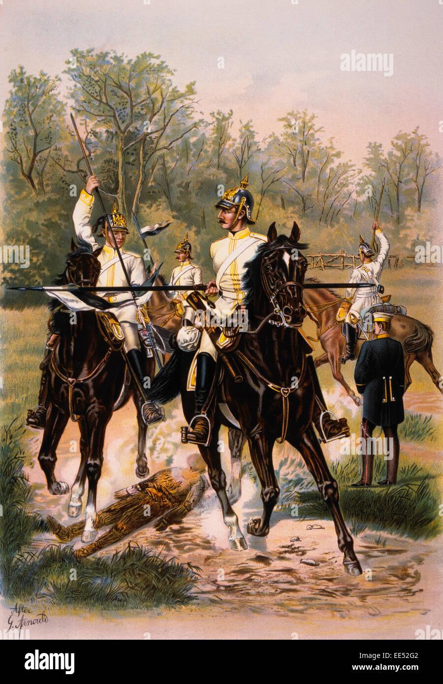 "Lance Exercises, 7th Regiment of Cuirassiers ""Von Seydlitz"", Chromolithograph, 1899 Stock Photo"