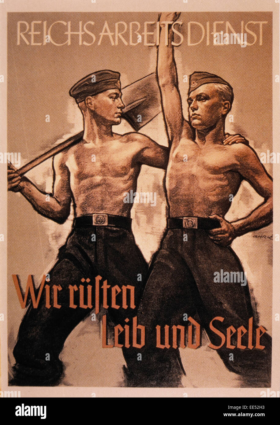 Nazi Germany Labor Service Poster, Reichsarbeitsdienst (We Prepare our Body and Soul), circa mid-1930's - Stock Image