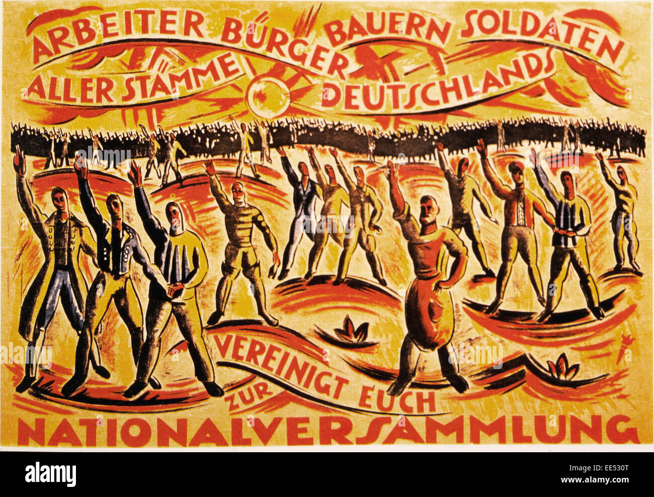 Poster for National Assembly Elections, Urging Unity of Workers, Citizens, Farmers and Soldiers in Support of the - Stock Image