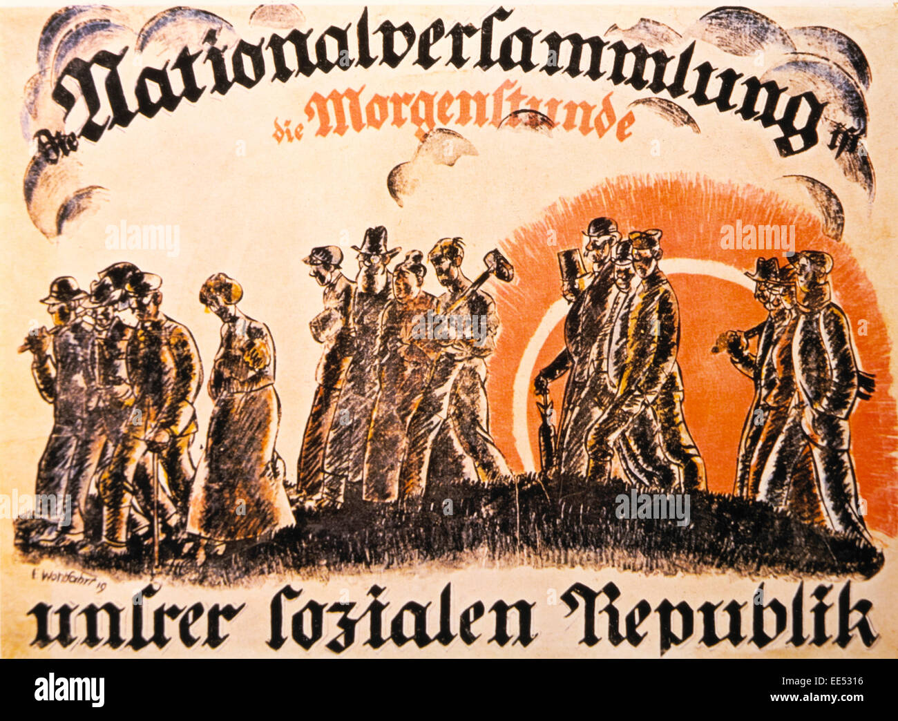 Poster in Support of the National Assembly Elections, 'Dawn of our Social Republic' , Germany, 1919 - Stock Image