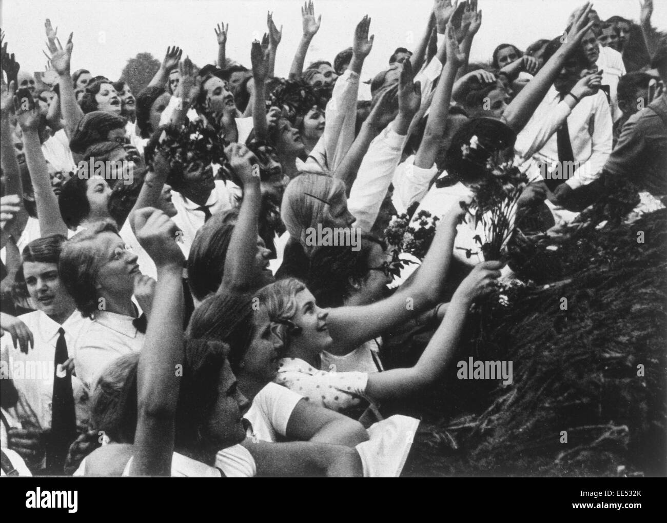 crowd of women cheering adolf hitler germany 1934 stock