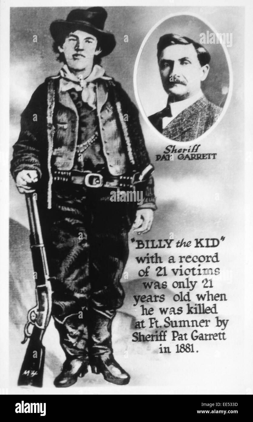 William H. Bonney (1859-1881), Outlaw Known as Billy the Kid, Portrait, with inset of Sheriff Pat Garrett - Stock Image