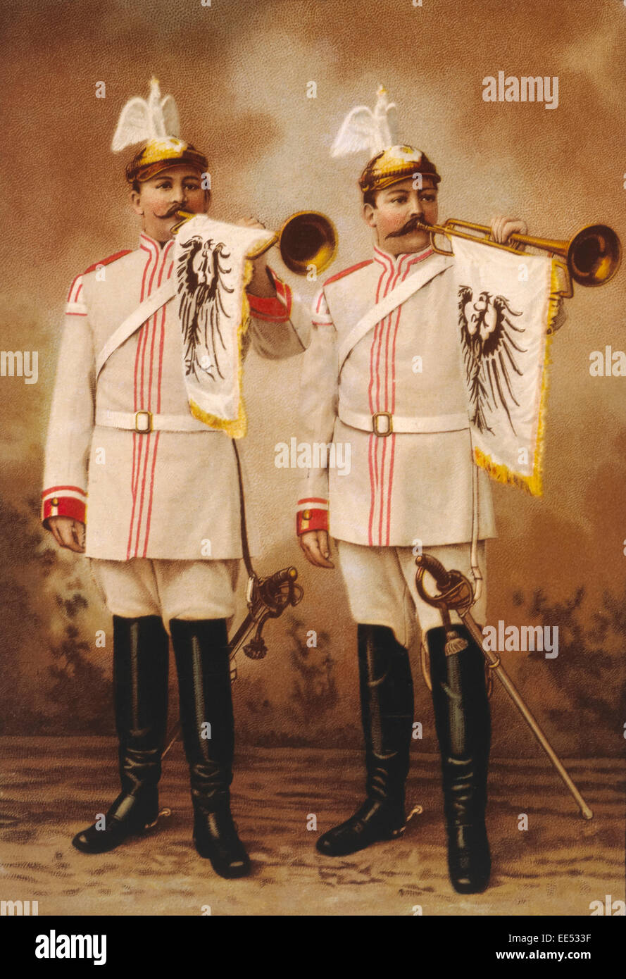 Two German Military Band Trumpeteers, circa 1912 - Stock Image