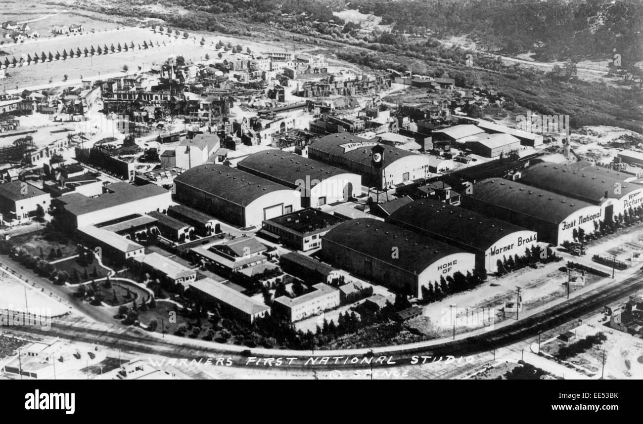 Warner Brothers' First National Studios, High Angle View, Burbank, Los Angeles, California, USA, circa 1930 - Stock Image