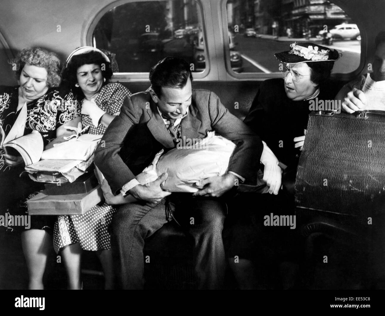 Jose Ferrer, Minerva Urecal, (right), on-set of the Film, 'Anything Can Happen', 1952 - Stock Image
