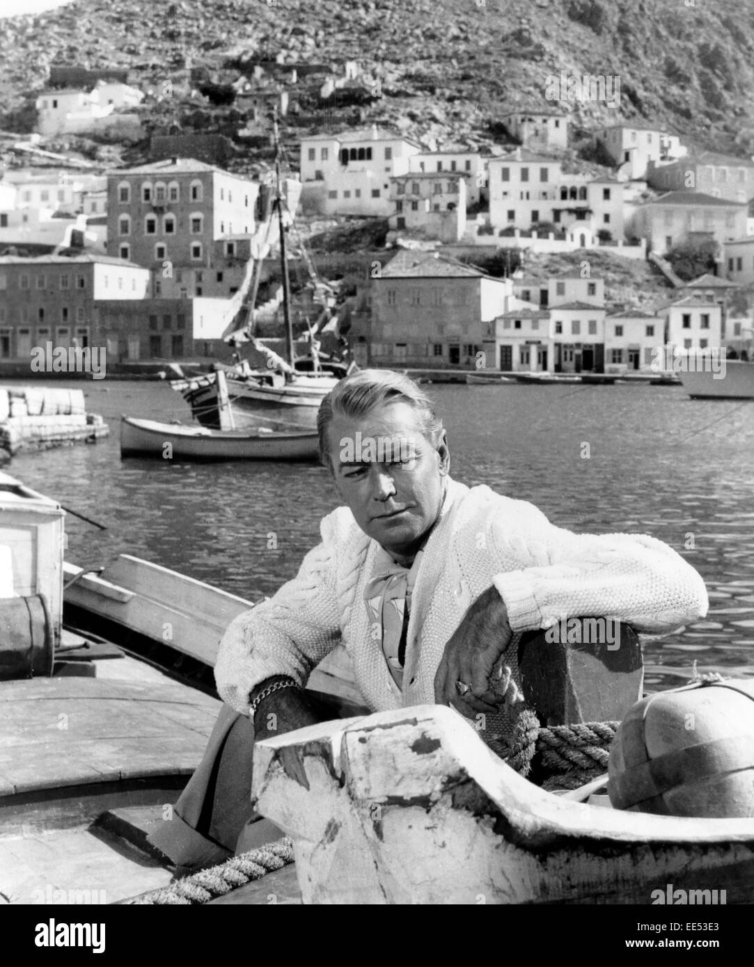 Alan Ladd, on-set of the Film, 'Boy on a Dolphin', 1957 - Stock Image