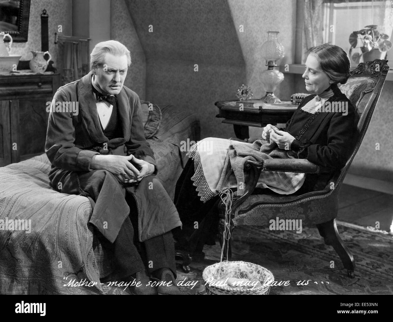 Lionel Barrymore, Louise Carter, on-set of the Film, 'Broken Lullaby', 1932 - Stock Image
