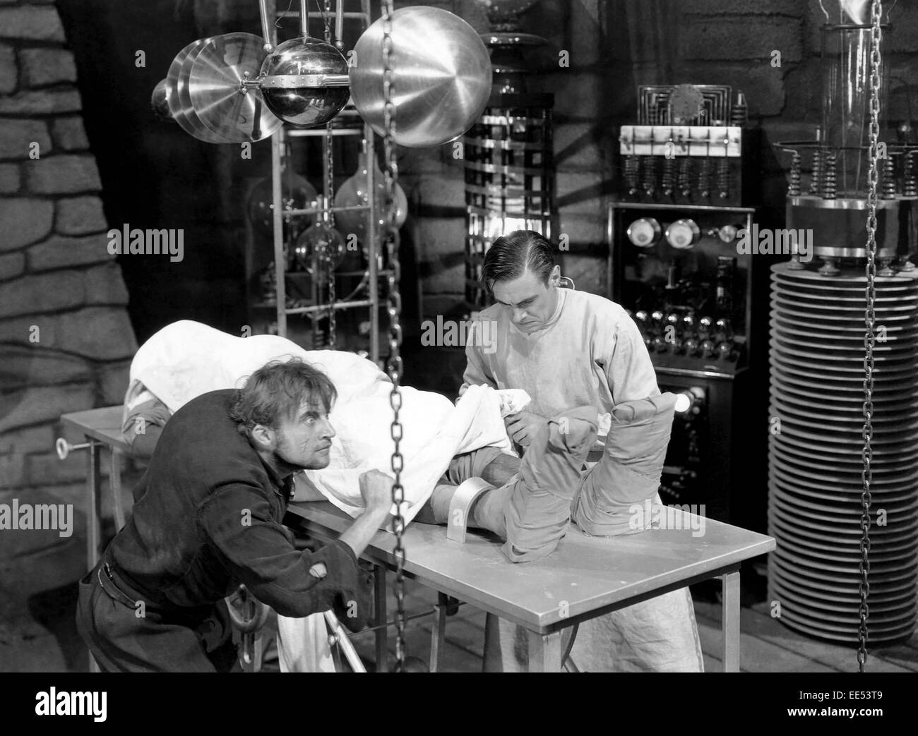 Dwight Frye, Colin Clive, on-set of the Film, 'Frankenstein', 1931 - Stock Image