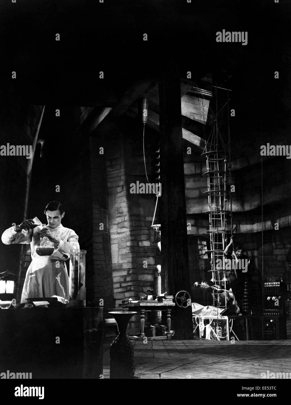 Colin Clive, Dwight Frye, on-set of the Film, 'Frankenstein', 1931 - Stock Image