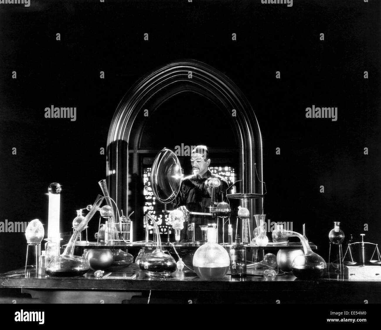Boris Karloff, on-set of the Film, 'The Mask of Fu Manchu', 1932 - Stock Image
