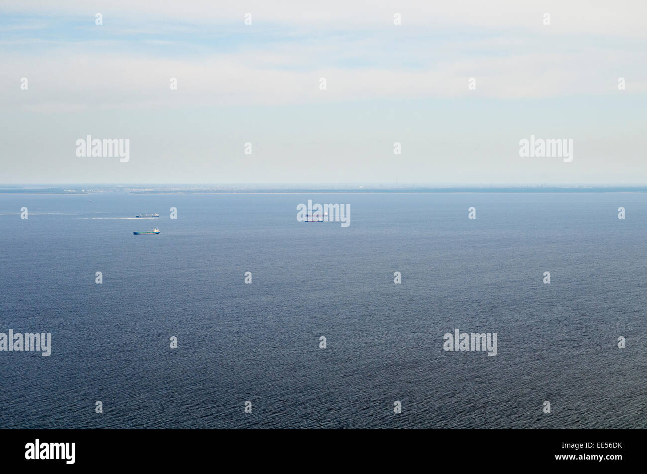 Ships riding at anchor in Gulf of Riga - Stock Image