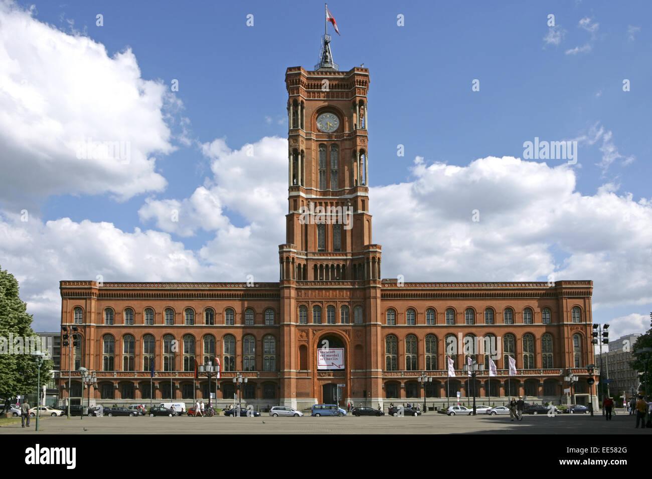 Deutschland, Berlin, Europa, Hauptstadt, Stadt, Sehenswuerdigkeit, das rote Rathaus, Architektur, Bauwerk, Bundeshauptstadt, - Stock Image