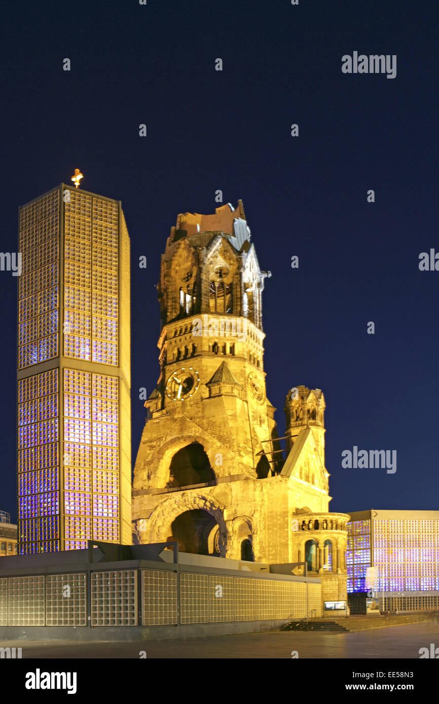 Deutschland, Berlin, Europa, Hauptstadt, Stadt, Sehenswuerdigkeit, Kurfuerstendamm, Kaiser-Wilhelm-Gedaechtniskirche, - Stock Image