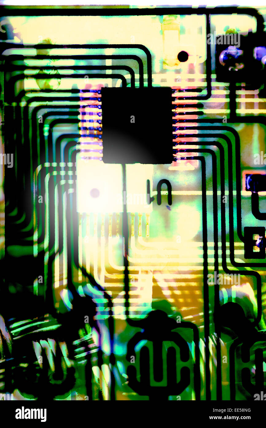Abstract Old Computer chip- - Stock Image