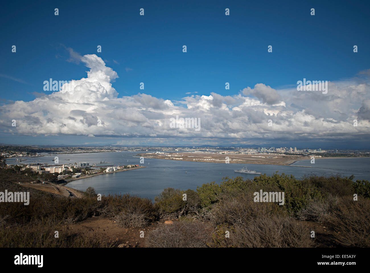 View of San Diego Bay and Coronado Island, US Navy Ship, from Cabrillo National Monument, Point Loma, San Diego, - Stock Image