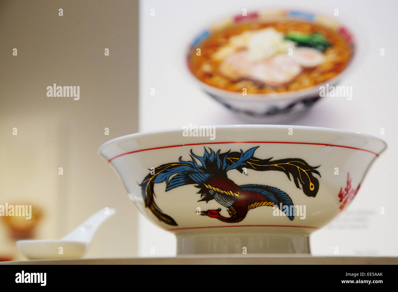 January 14, 2015, Tokyo, Japan : A noodle bowl design on display at 'Mino Ramen Bowl Exhibition' in Tokyo, - Stock Image