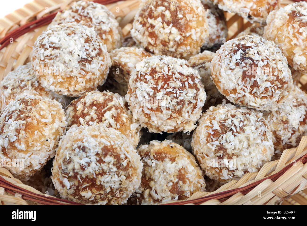 Small Russian cakes covered with coconut particles - Stock Image