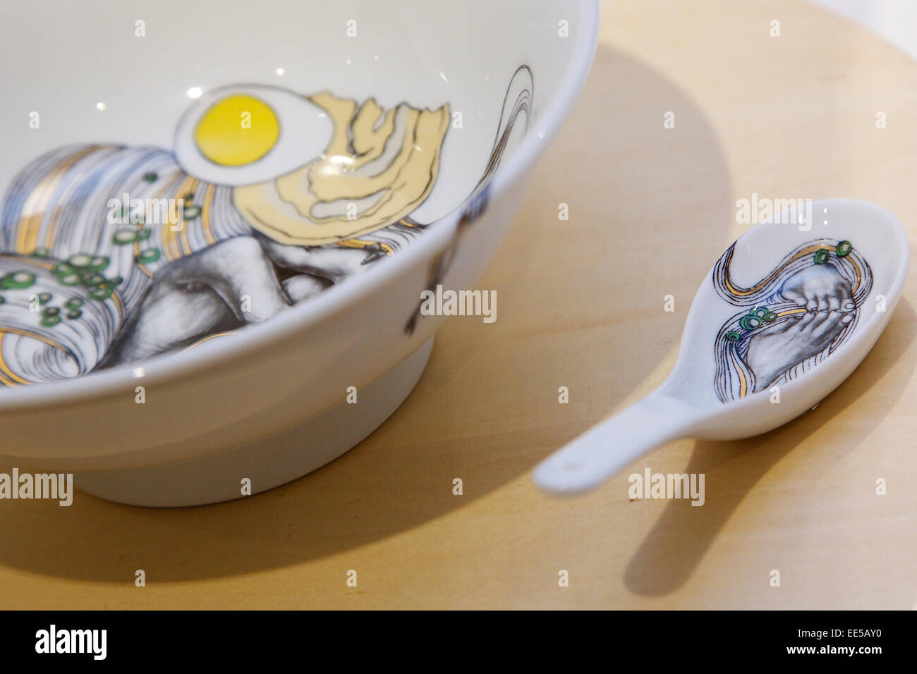 january 14 2015 tokyo japan a noodle bowl design on display at