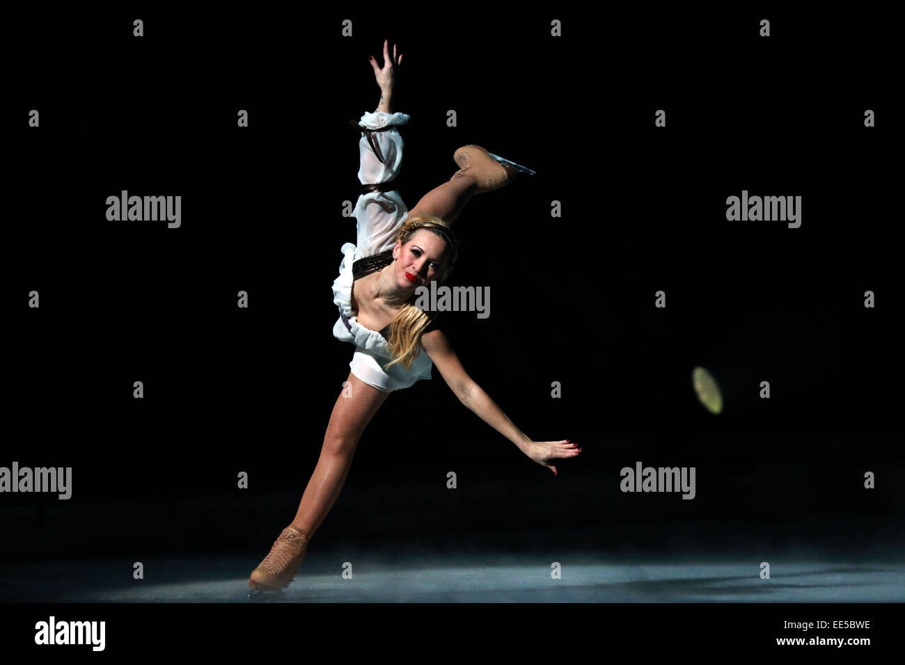 Frankfurt, German. 13th Jan, 2015. Annette Dytrt performs during the Passion ice show by Holiday on Ice in Festhalle Stock Photo