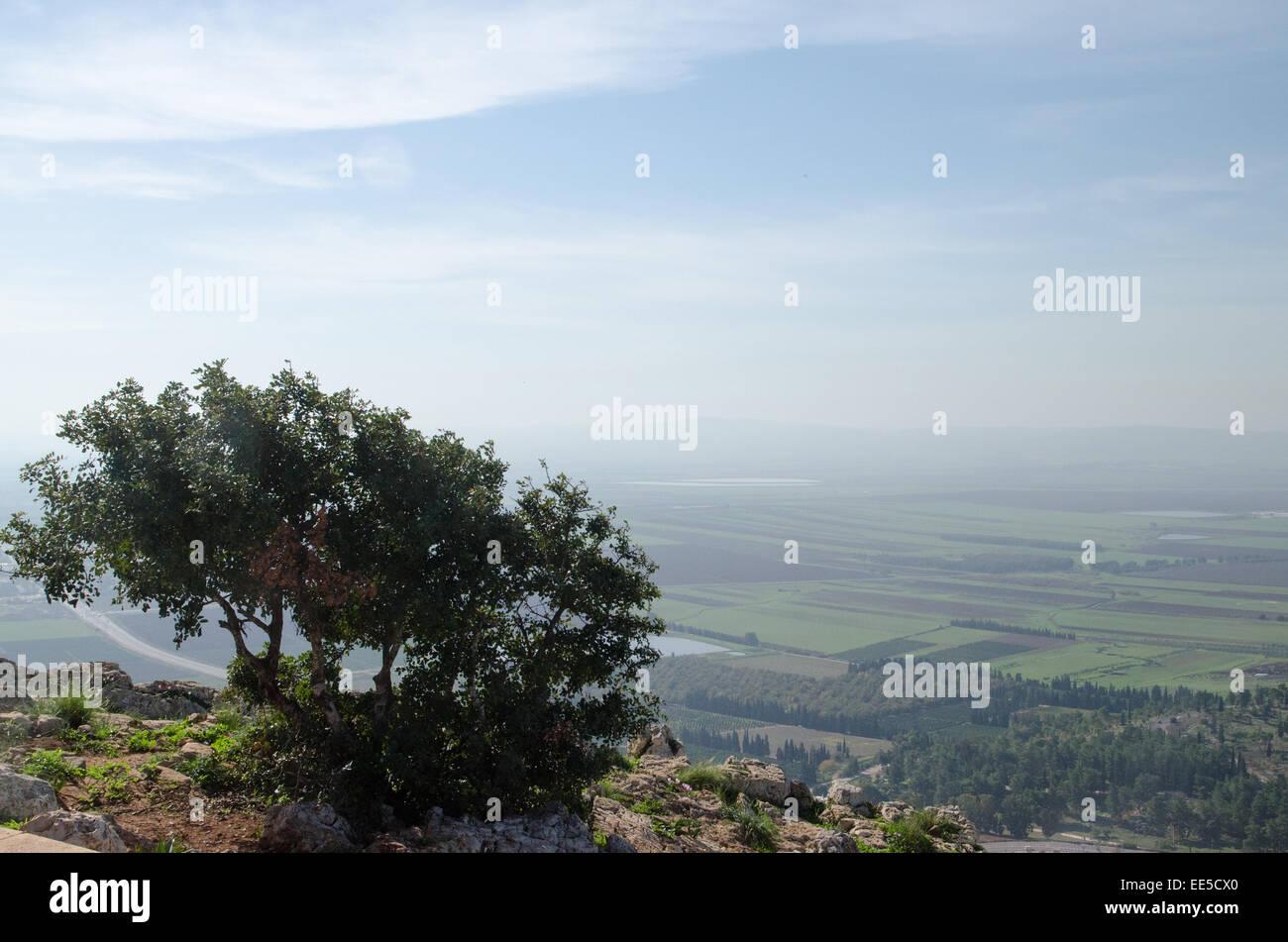 Israel, Lower Galilee, Mount Precipice overlooking Jezreel Valley Stock Photo