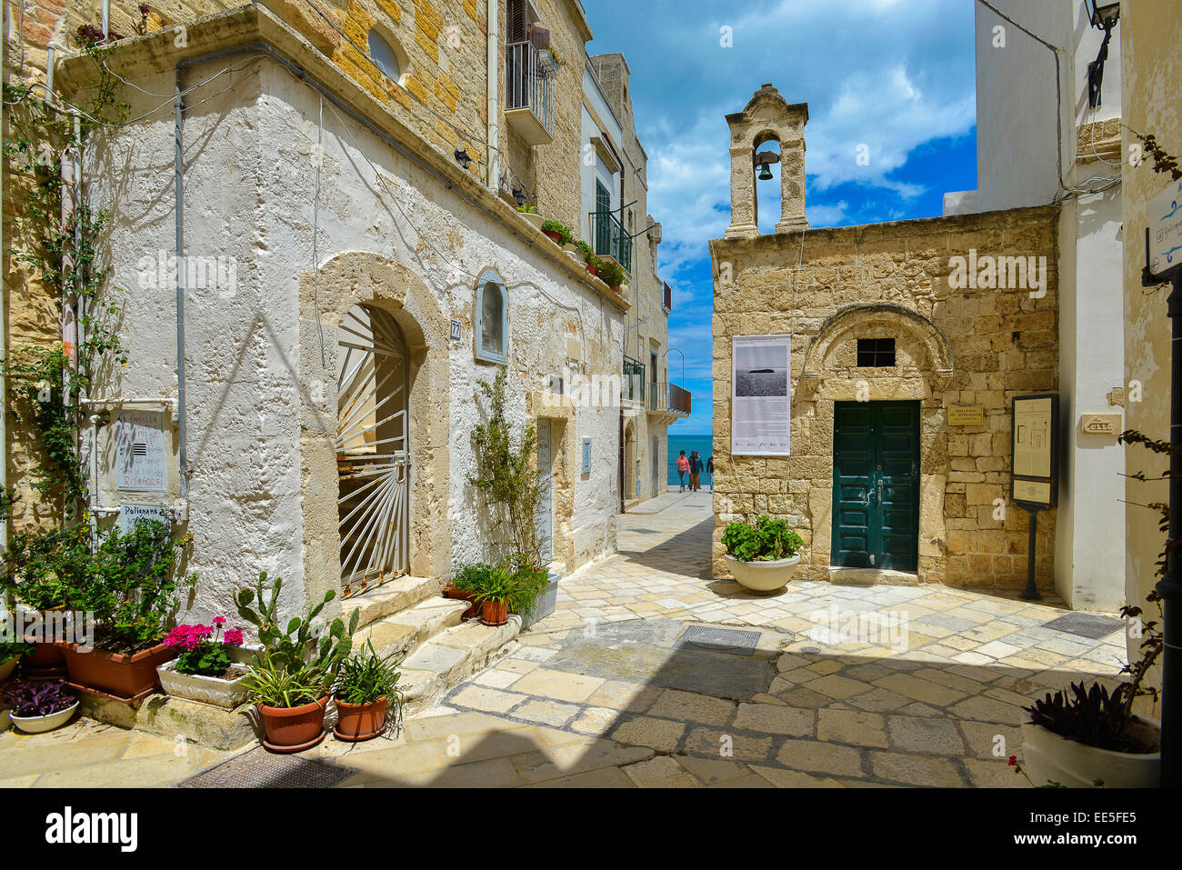 Italy Puglia Apulia Polignano a Mare The Chapel of Saint Stephen now houses an art gallery - Stock Image