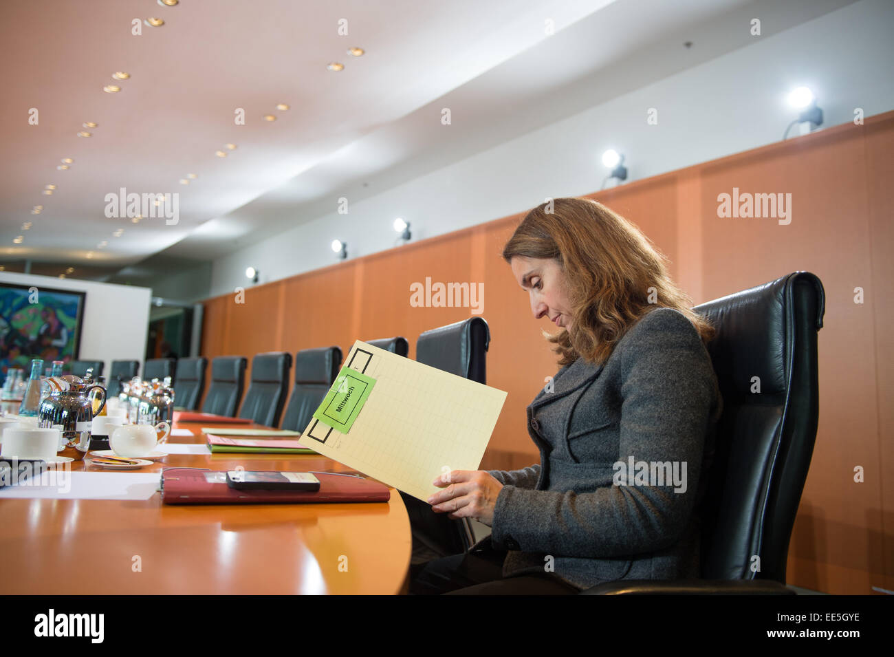 Berlin, Germany. 14th Jan, 2015. Aydan Oezoguz (SPD), minister of state for integration, sits before the session - Stock Image
