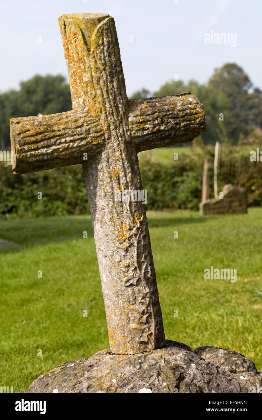 grave stone Cross in a cemetery - Stock Image