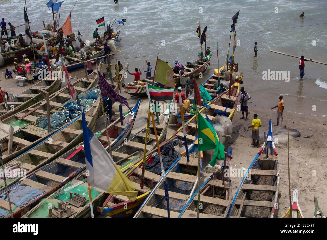 Boats in Cape Coast Ghana - Stock Image