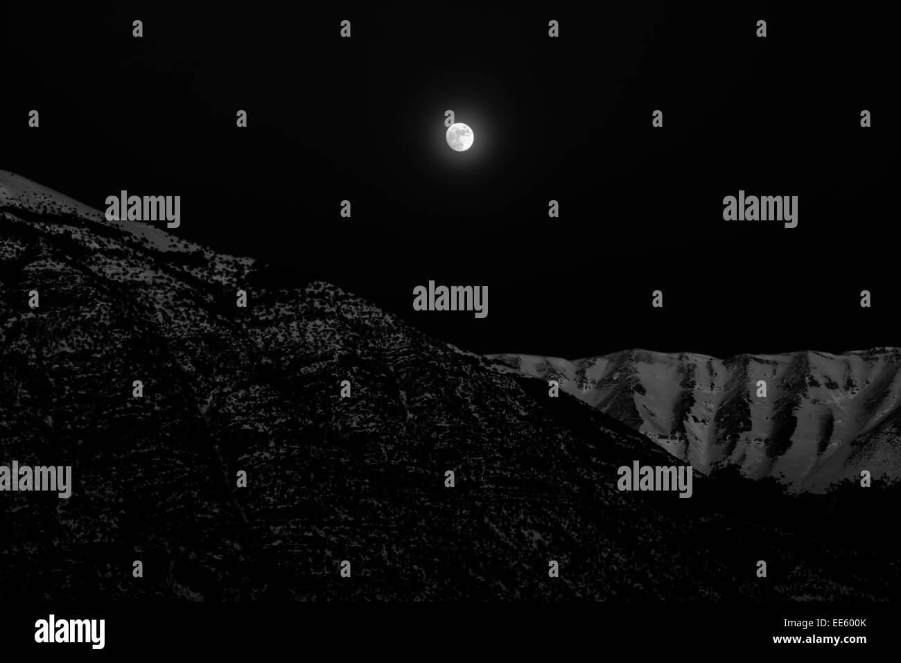 Abruzzo. Italy. Moonlit on mountains - Stock Image