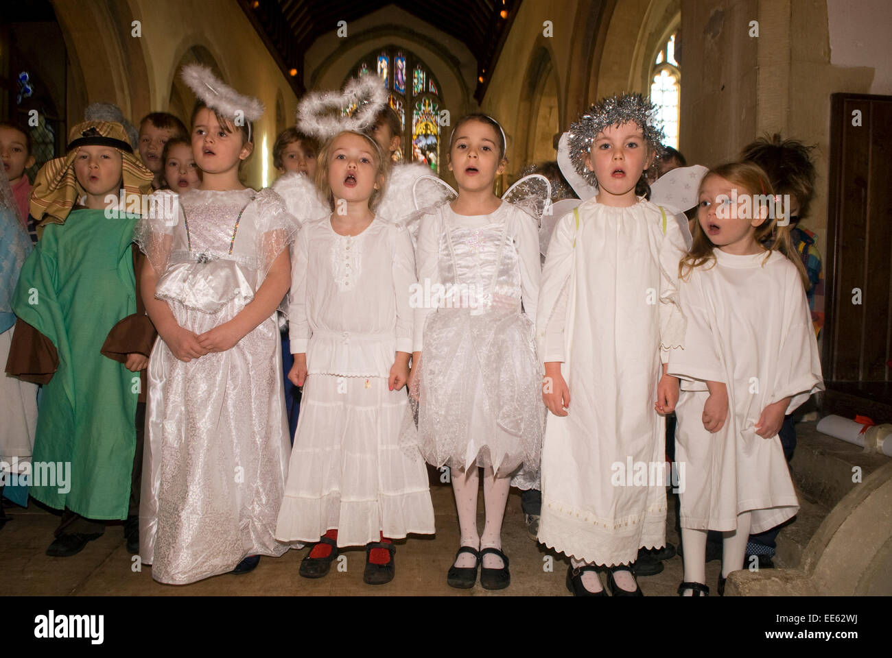 Children taking part in a school christmas play dress rehearsal, near Alton, Hampshire, UK. - Stock Image