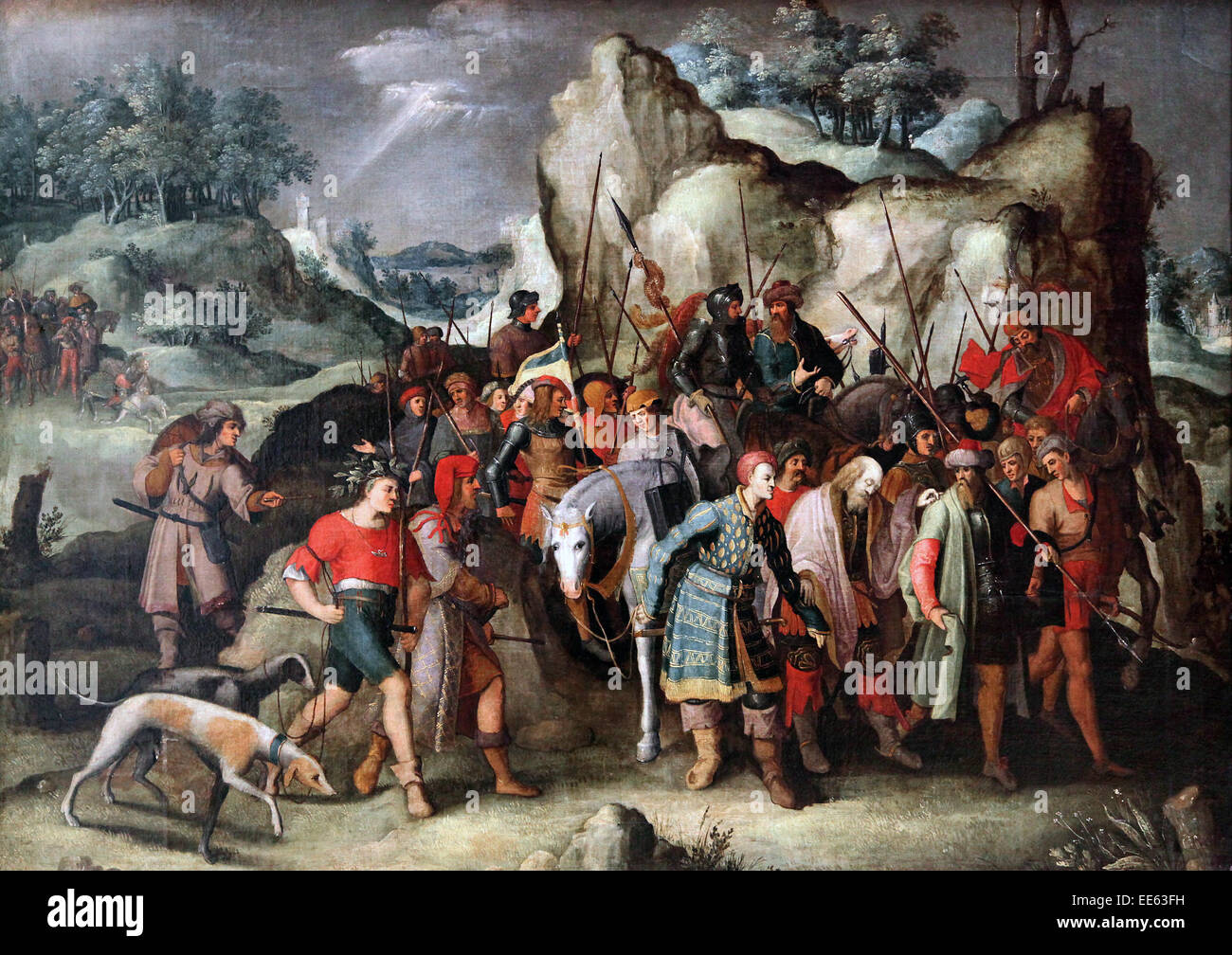 St. Paul Led to Damascus After his Conversion by Pieter Brueghel the Younger 1564-1638 - Stock Image