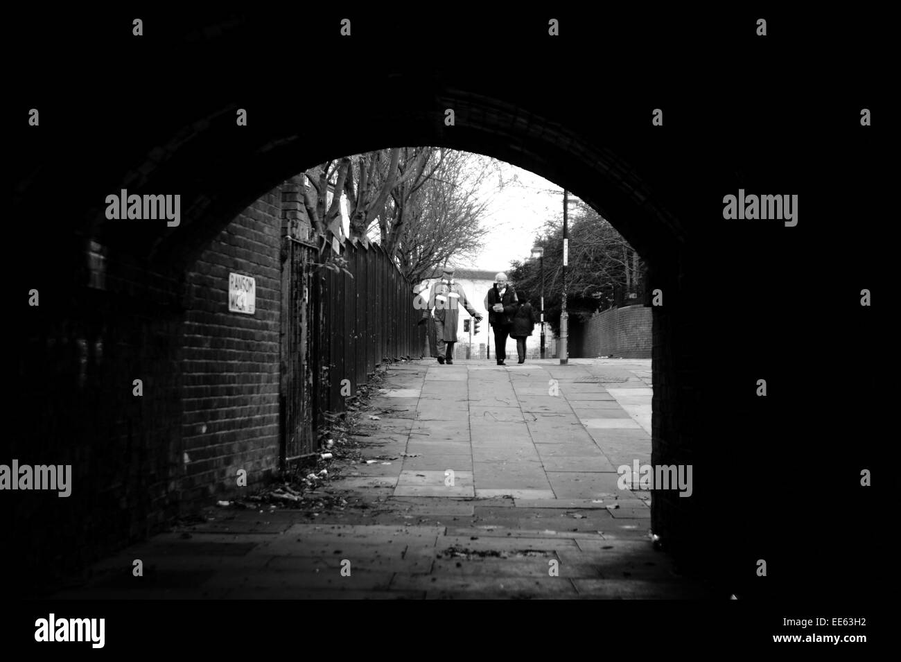 Charlton South East London UK January 2015 Football fans arriving for Charlton Athletic match Photograph taken by - Stock Image