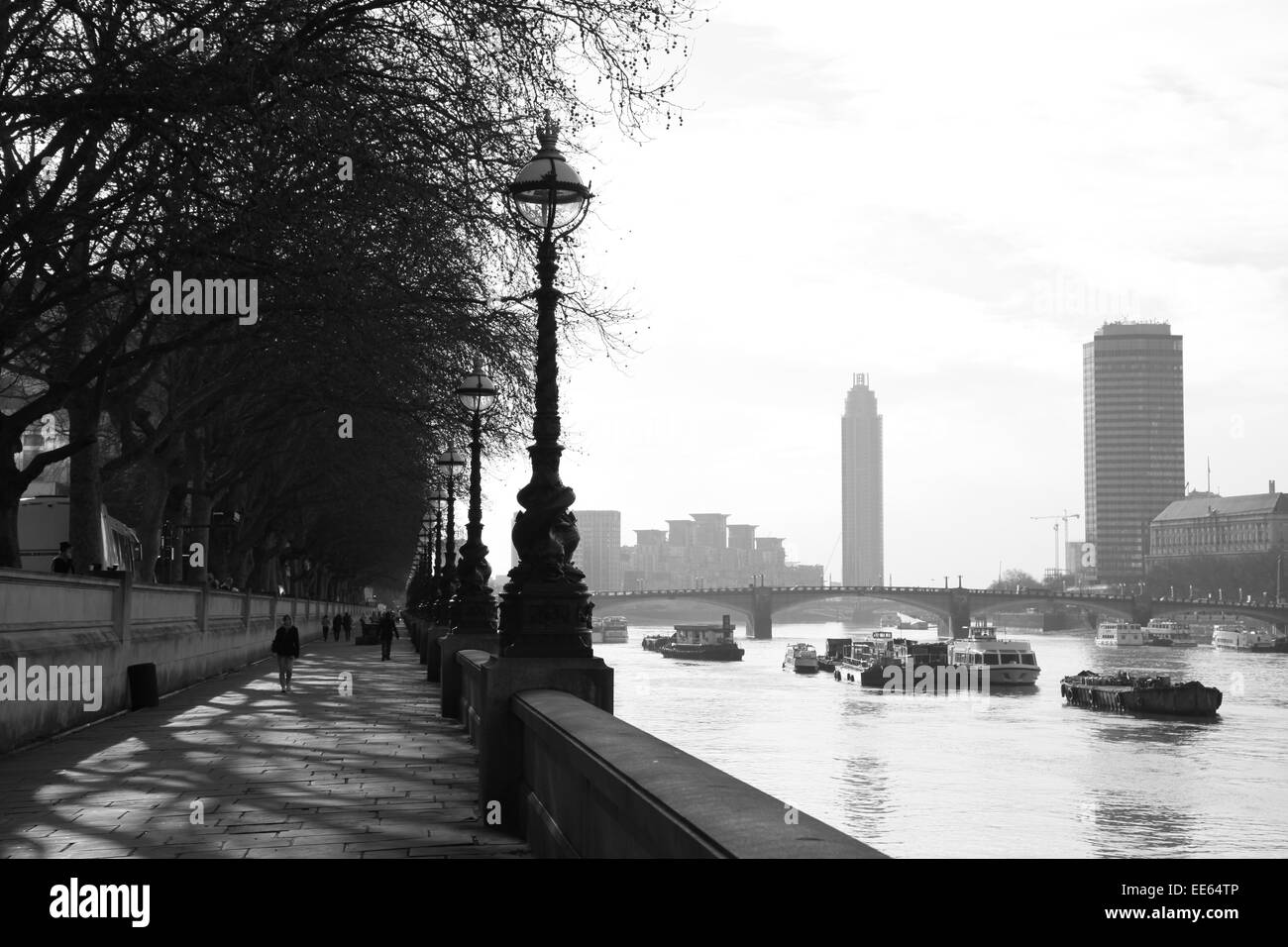Thames embankment looking up river. London - Stock Image