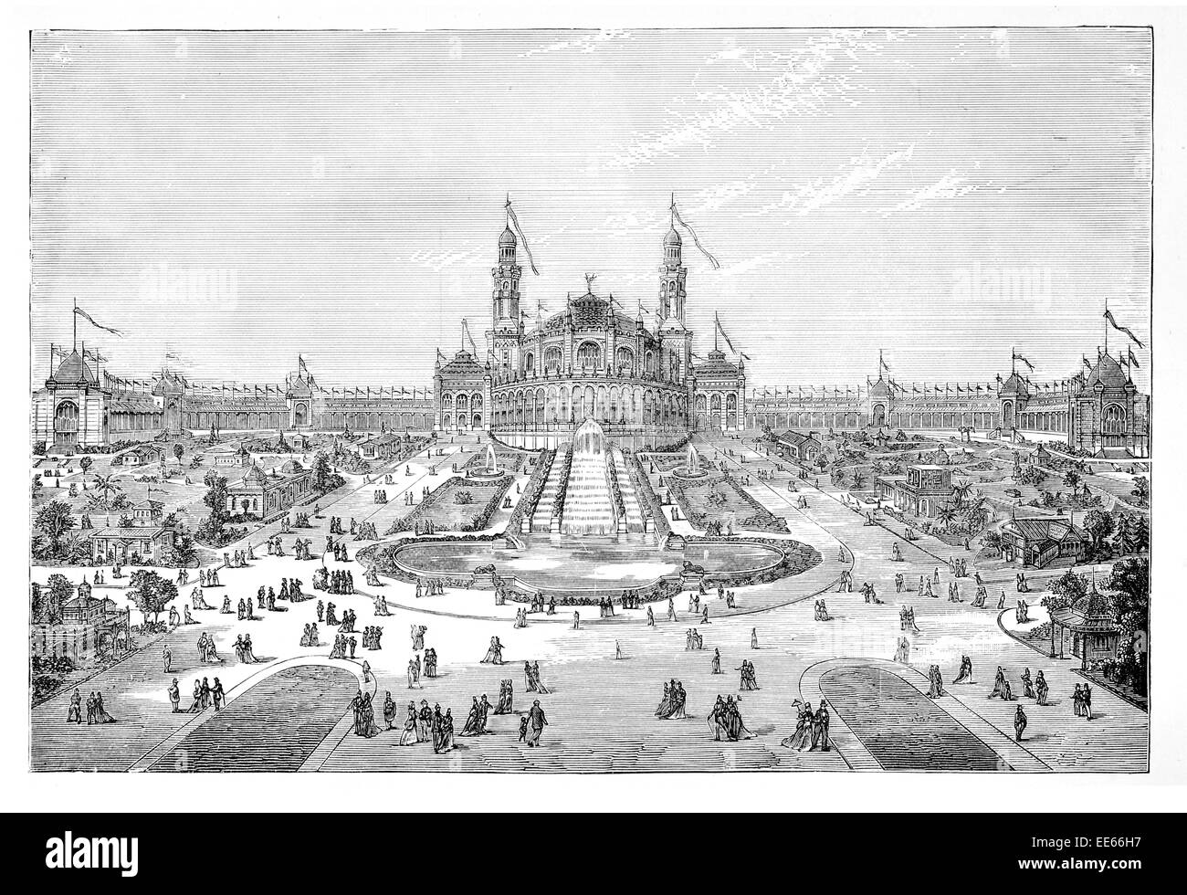 Palais du Trocadéro Garden Paris International Exhibition 1878  World's Fair Exposition Universelle France - Stock Image
