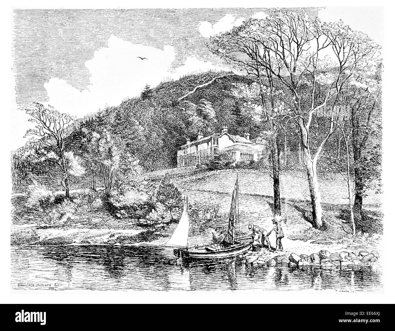 Mr John Ruskin Home Brantwood Coniston Lancashire England fishing boat fishermen house country river Victorian - Stock Image