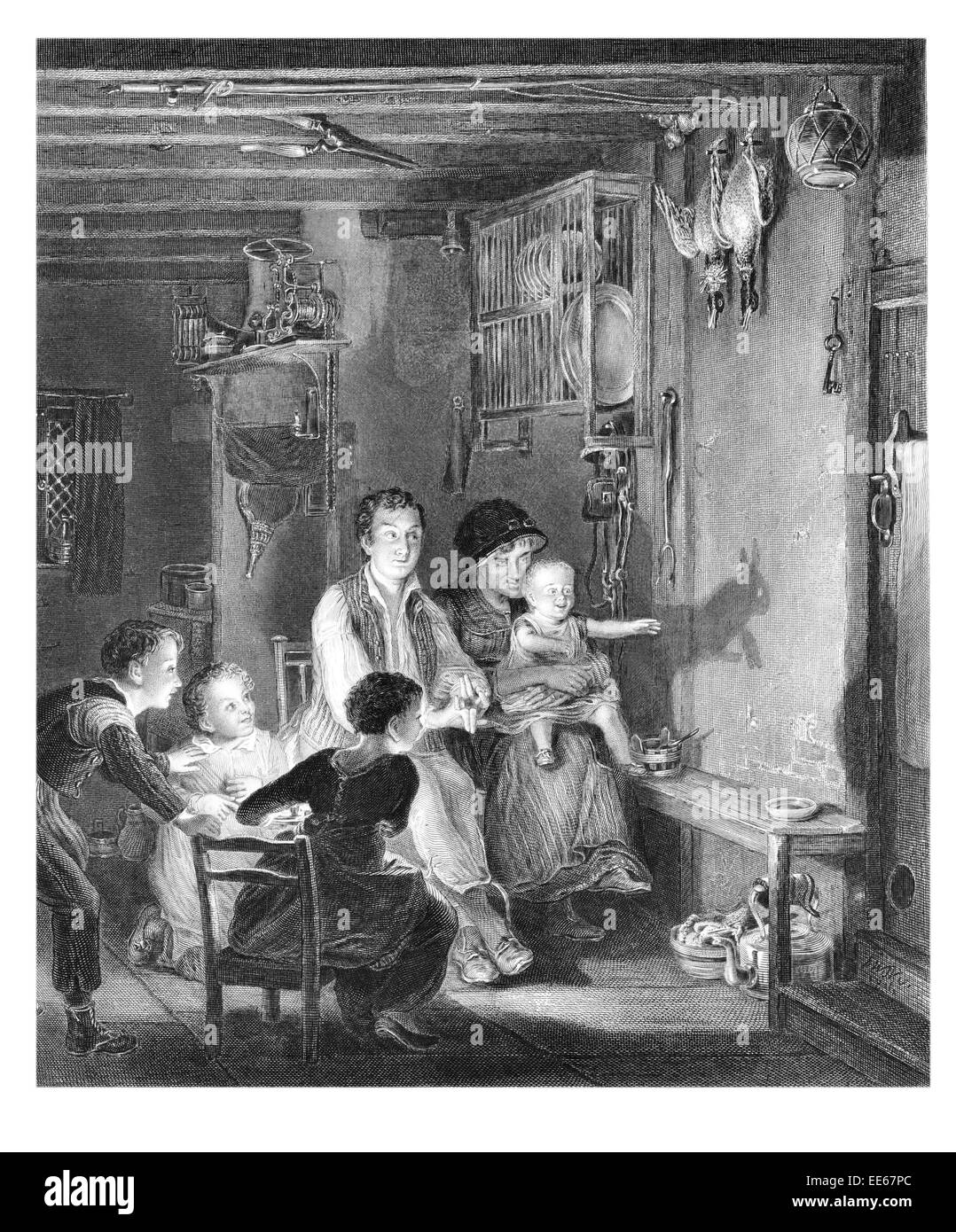The Rabbit on the wall Sir David Wilkie puppet shadow show family home period costume dress father mother daughter - Stock Image