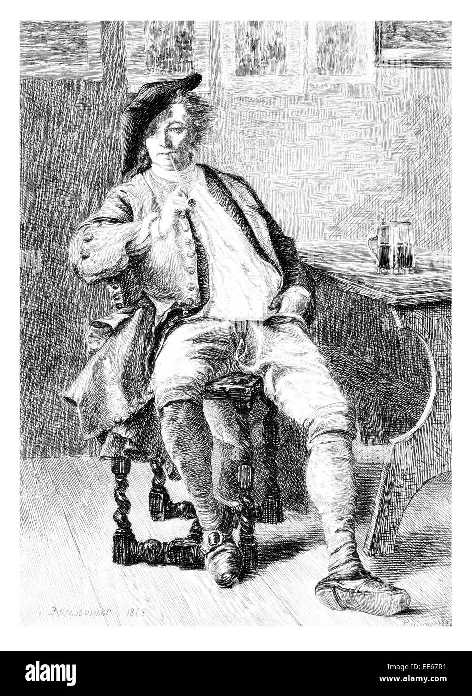 The Smoker Jean-Louis Ernest Meissonier period costume clothes smoking smoke pipe tanked pint pub public house - Stock Image