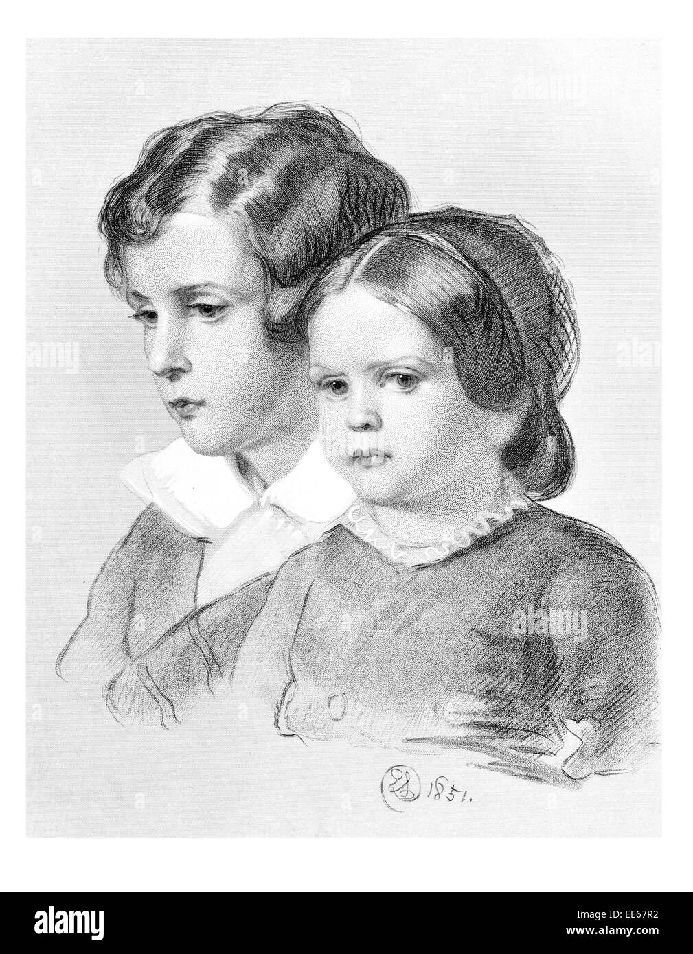 Lad and Lassie Sir Edwin Henry Landseer 1851 portrait young boy girl child children period costume dress Sunday - Stock Image