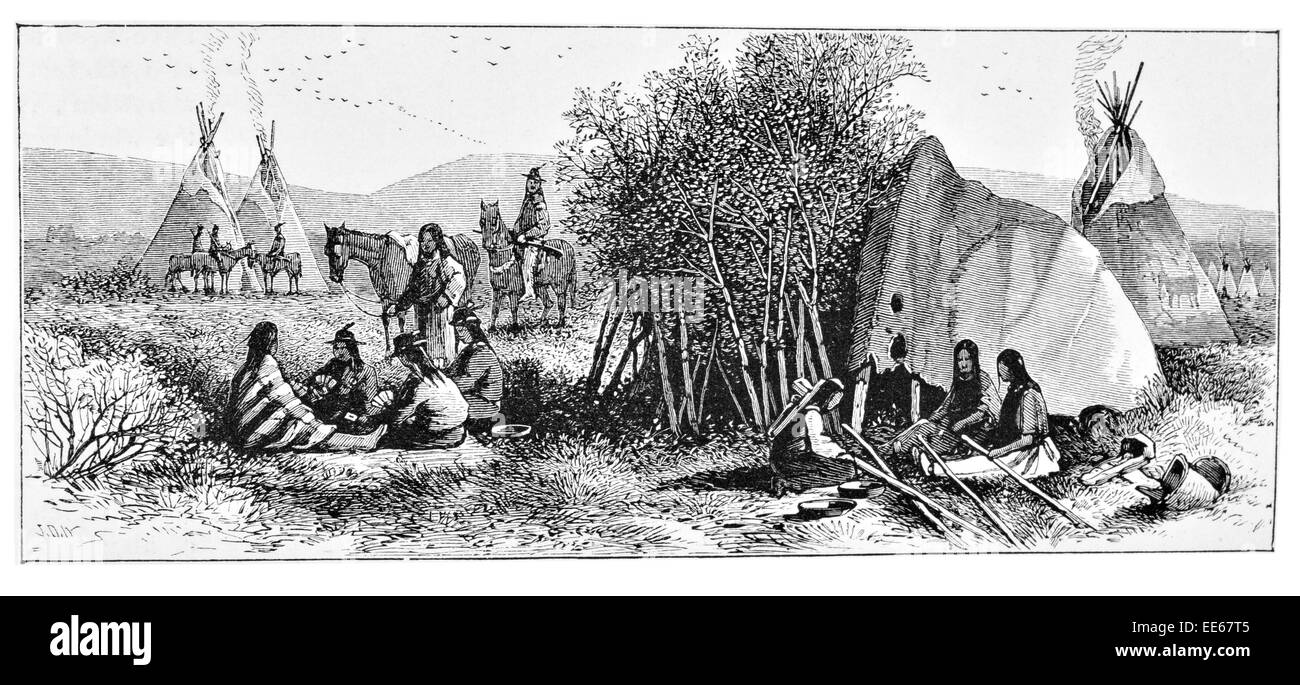 Indian camp in the Great American desert Utah Indians wigwam tent camping traditional period costume trader trading - Stock Image