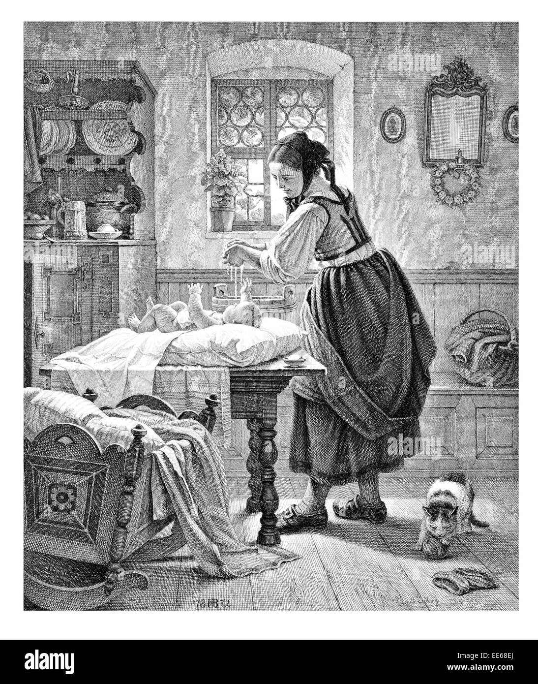 The Toilette A Ludwig changing baby babies nappy mother child infant new born period costume dress home kitchen - Stock Image