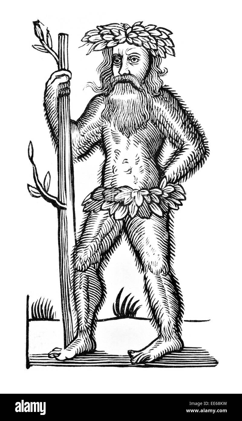 Robbin Hood Balled archer wild man Goliath folklore legend  medieval merry men knight Nottingham hero 13th 14th Stock Photo