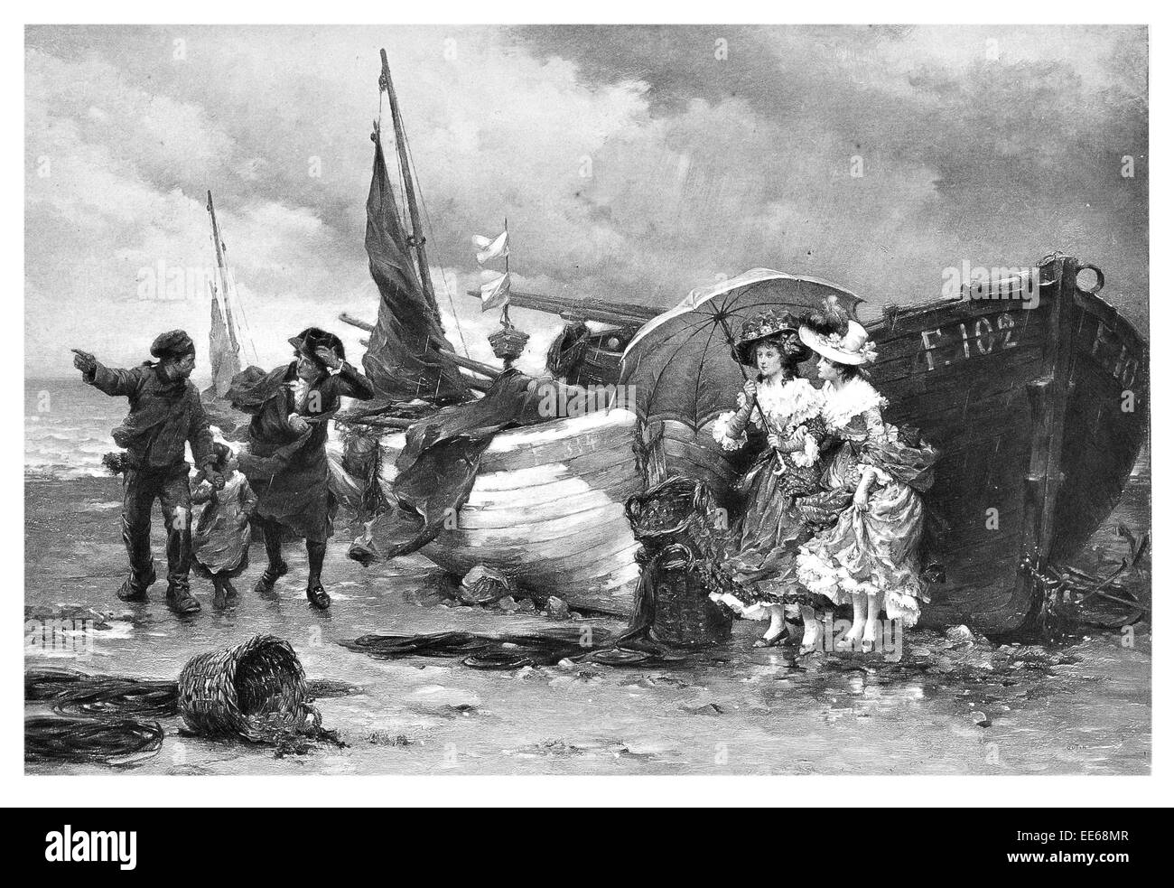 A coming shower Pierre Outin ship landing landed gale force winds wind captain Victorian era lady ladies umbrella - Stock Image