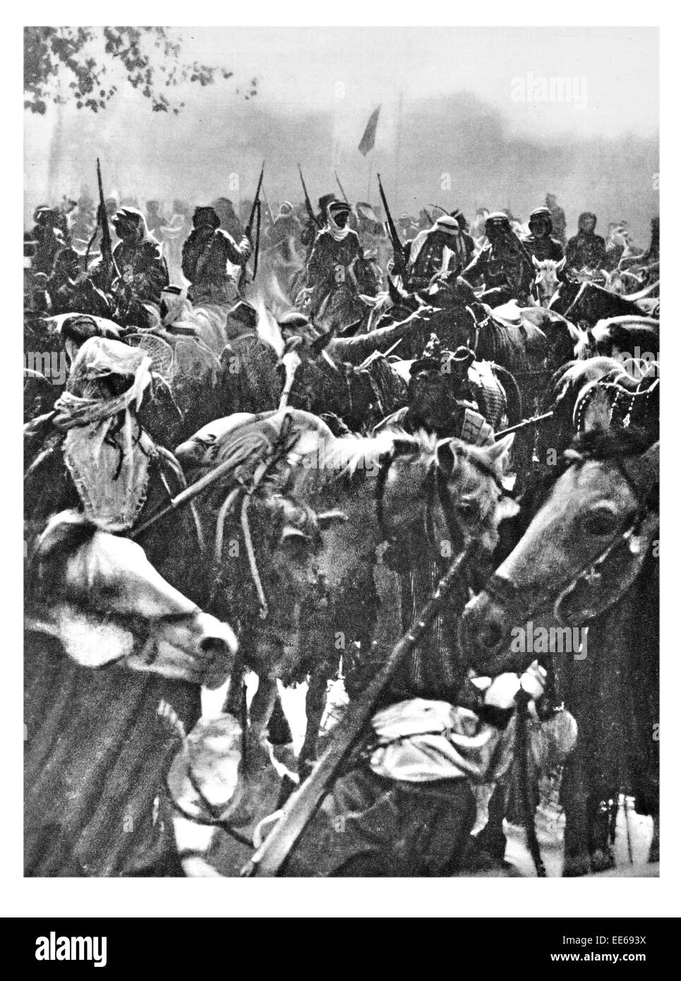 Entering Damascus Lawrence of Arabia Arab Revolt Ottoman Turkish portrait Arabian Syria horse cavalry rifle soldier - Stock Image