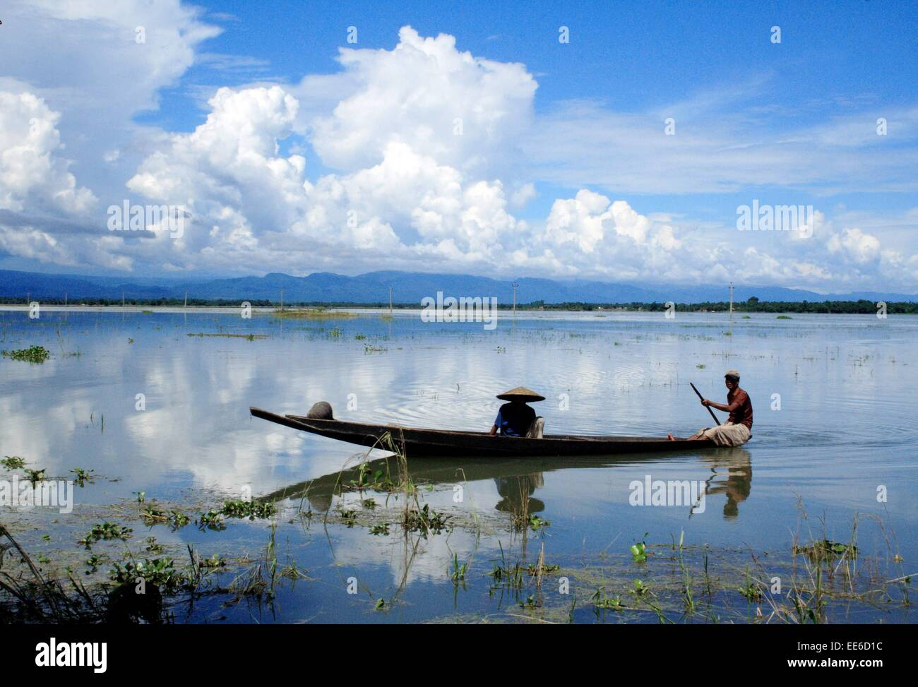 Bangladesh 10 January 2015  Boatman in Tanguar Haor